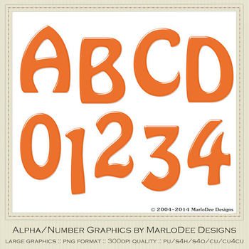 Easter Colors 2011 Candy Orange 1 Alphabet Letter & Number Graphics