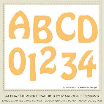 Easter Colors 2011 Candy Orange 2 Alphabet Letter & Number Graphics