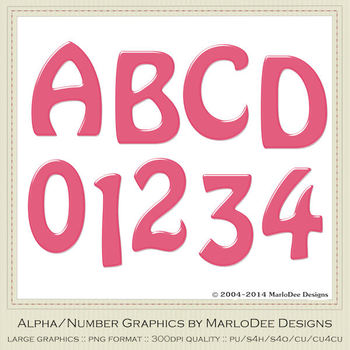 Easter Colors 2011 Candy Pink 1 Alphabet Letter & Number Graphics