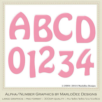 Easter Colors 2011 Candy Pink 2 Alphabet Letter & Number Graphics