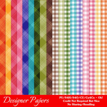 Easter Colors 2011 Digital Papers A4 size 2 Ginghams & Plaids