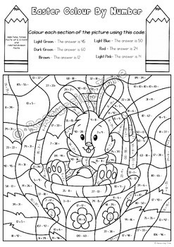 Easter Colour By Number - Four Operations (Aus Spelling)