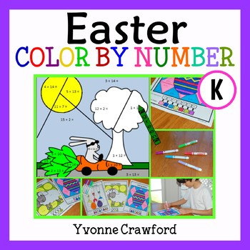 Easter Color by Number (kindergarten)  Color by Number, Addition and Shapes