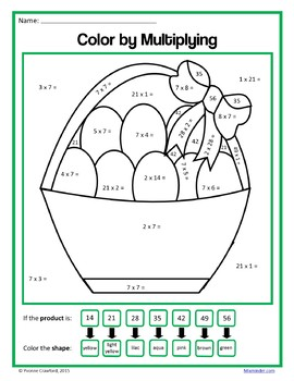 Easter Color by Number (third grade) Color by Multiplication, Rounding and More