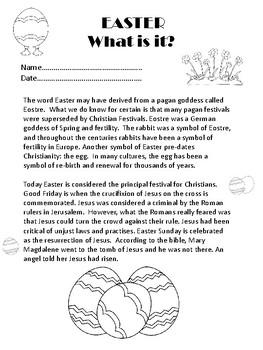 Easter Comprehension - understanding Easter