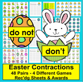 Easter Activities:  Contractions Matching - 48 Pairs - 96 Words