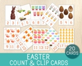 Easter Count & Clip Cards, Numbers 1-20, Easter Activity, Math Game, Flashcards