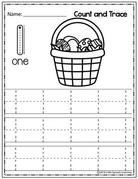 Easter Count and Trace (Numbers 1 - 10 )