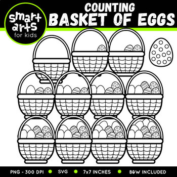 Easter Counting Basket of Eggs Clip Art