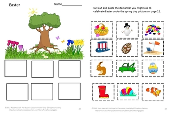 Easter Math & Literacy Centers Cut & Paste Worksheets Kindergarten Special Ed