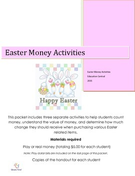Easter Counting Money Activities