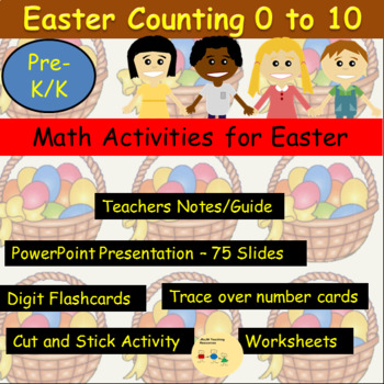 Easter Counting, Numbers, Add 1 More/2 More Presentation, Activities, Worksheets