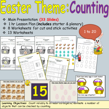 Easter Counting, Numbers and Estimating Presentation Lesson Plan Worksheets