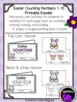 Easter Counting Printable Reader Numbers 1 to 10