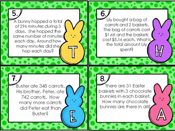 4th Grade Easter Crack the Code Math Centers Task Cards
