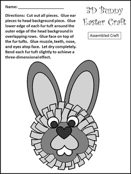 Easter Craft Activity: 3D Easter Bunny Spring Craft Activity Packet