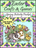 Easter Activities: Easter Crafts & Games Activity Bundle - Color&BW