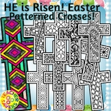 Easter Crosses Coloring Clip Art Set Commercial and Personal Use