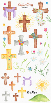 Easter Crosses Watercolor Clipart Set