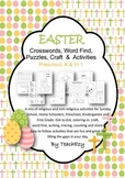 Easter Crosswords, Word Find, Puzzles, Craft  &  Activities Preschool, K & 1