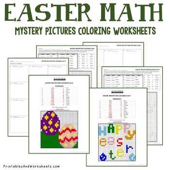 Operations with Decimals, Easter Decimals Mystery Pictures Coloring Worksheets