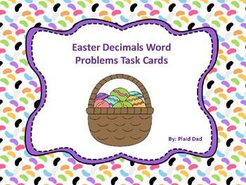 Easter Decimals Word Problem Task Cards