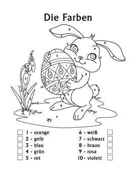 Easter - Die Farben German Colors Color by Number Easter Bunny Worksheets