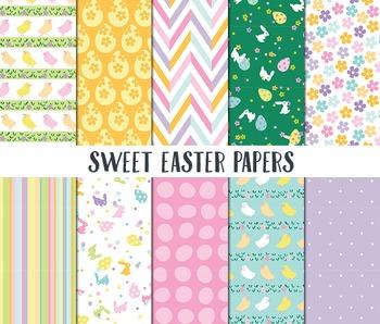 Easter Digital Paper, Digital Paper, Sweet Easter Papers, Easter Scrapbook paper