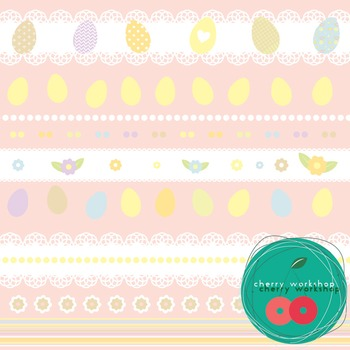 "Easter Digital Paper ""Pastel Colors Easter"" Easter eggs, rabbits, flowers, dots"