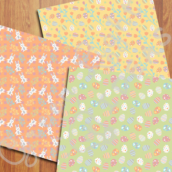 Easter Digital Papers / Easter Eggs Backgrounds / Easter Scrapbook Paper