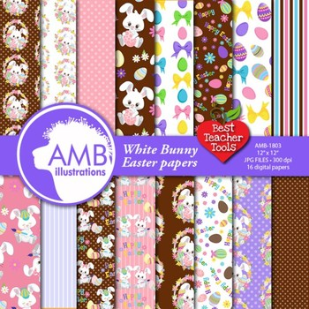 Easter Digital Papers, Spring, White bunny clipart {Best Teacher Tools} AMB-1803