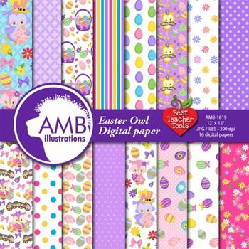 Easter Digital Papers, Owls Digital Backgrounds {Best Teacher Tools} AMB-1819