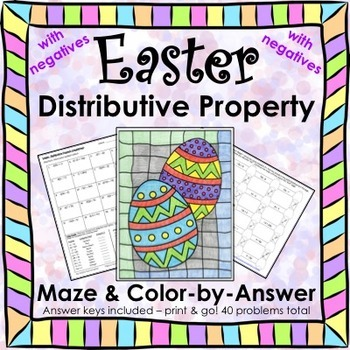 Spring Easter Math Distributive Property (Negs) Maze & Color by Number Bundle
