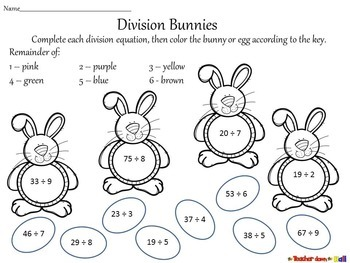Easter - Division w/ Remainders  (2 different levels!)
