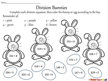Easter - Division with Remainders  (2 different levels!)