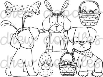 Easter Dogs Digital Clip Art Set- Black Line Version