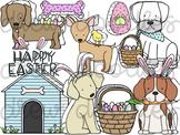 Easter Dogs Digital Clip Art Set- Color and Black Line COMBO