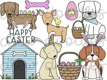 Easter Dogs Digital Clip Art Set