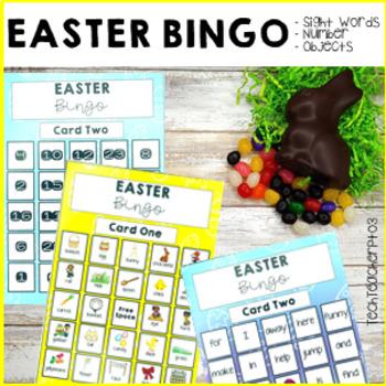 Easter Pre Primer Sight Words Bingo Game 5 card game