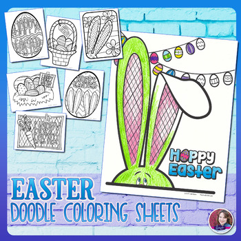 Easter Doodle Coloring Sheets 2017