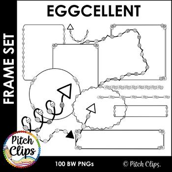 Easter Egg Doodle Borders, Frames, Headers, and More EGGCELLENT