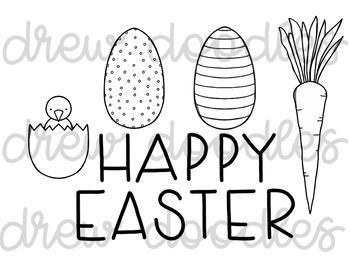 Easter Doodles Digital Clip Art Set- Black Line Version