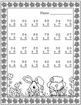 Easter Double Digit Multiplication With Regrouping, Two Digit Multiplication