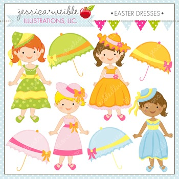 Easter Dresses Cute Digital Clipart, Dress Up Girls Clip Art