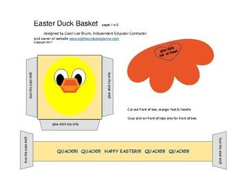 Easter Duck Basket Papercraft