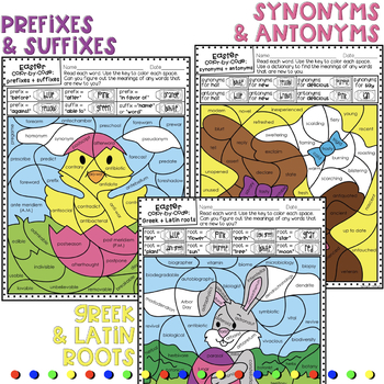 Easter ELA Color by Code Activity Vocabulary and Grammar Worksheets