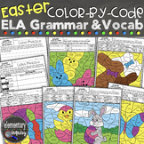 Spring Grammar and Vocabulary Color by Code ELA Easter Act