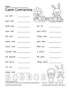 """Easter ELA"" Contractions - Common Core! (black line version)"
