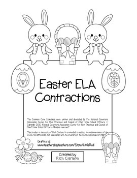 """Easter ELA"" Contractions - Common Core ! (color & black line)"
