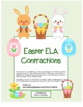 """""""Easter ELA"""" Contractions - Common Core! (color version)"""